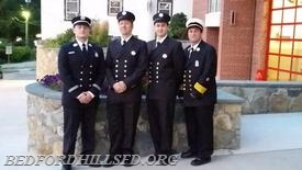 Pictured from L to R:  Captain Dennett, FF Pasetto, FF Messinger and 1st. Asst. Chief Lombardo