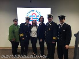 Pictured from Left to Right - Commissioner Susan Welch, Chief Lombardo, Michele Berliner and Christy Saltstein(Co-Founders, Stayin' Alive Charity), Chief Nickson and FF Heiftz