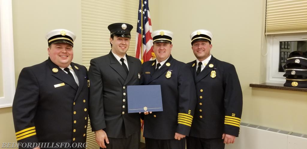 The 2018 Board of Chiefs with Engineer Wyatt Messinger. Second Place Apparatus Award - Engine 199