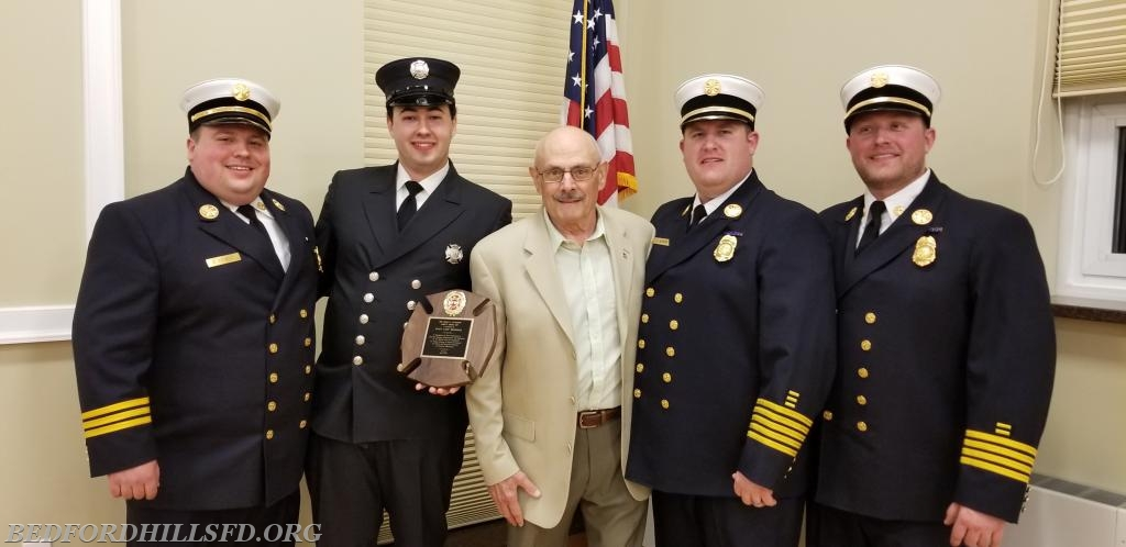 The 2018 Board of Chiefs with Past Asst. Chief John Goodrow, and Firefigher Wyatt Messinger.